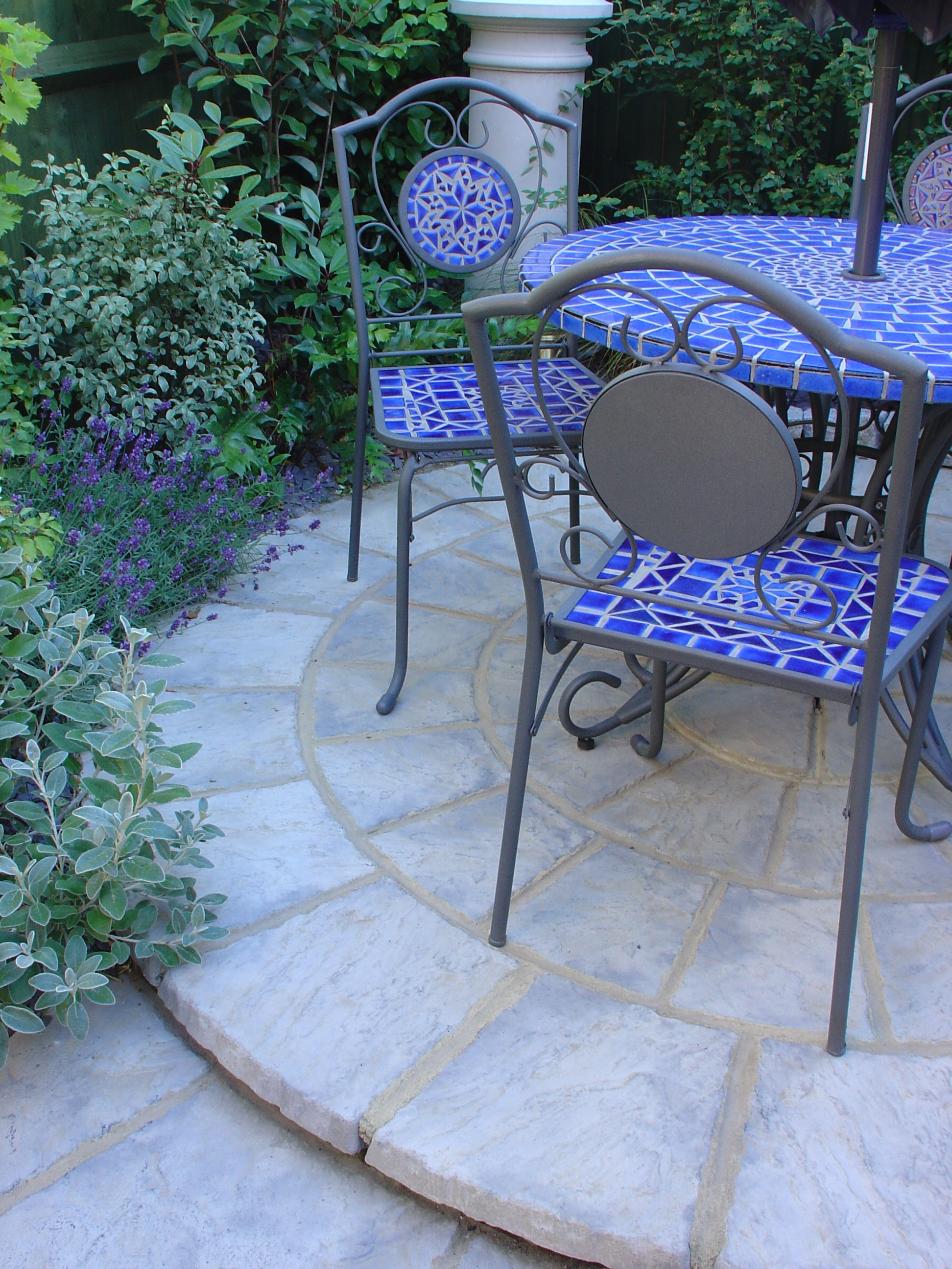 Blue tiled outdoor furniture