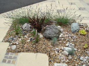 Cobbles and natural stone help to conserve moisture in planting areas