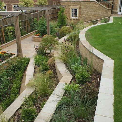 Mutliple levels of stonework terraces are home to a wide range of plant species for year round colour